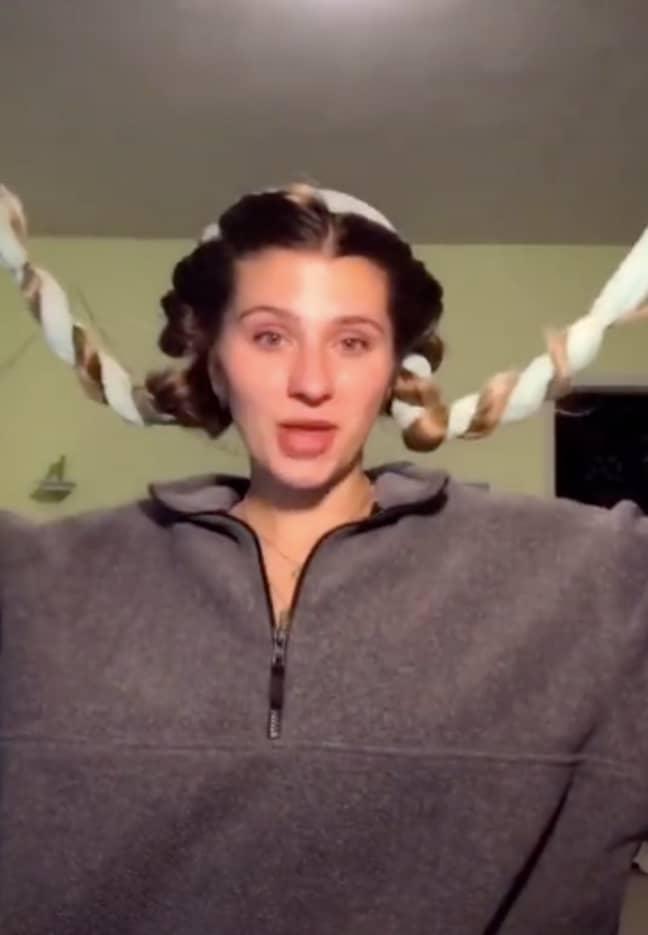 Bri plaited the belt around her hair on both sides (Credit: TikTok/@bacardibri123)