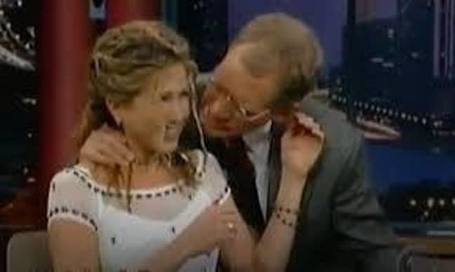 Letterman began sucking Jennifer's hair (Credit: The Late Show/CBS)