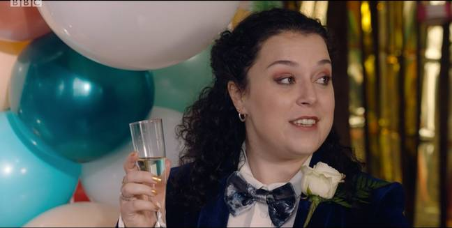 Tracy Beaker gives a speech at Cam and Mary's wedding (Credit: BBC)