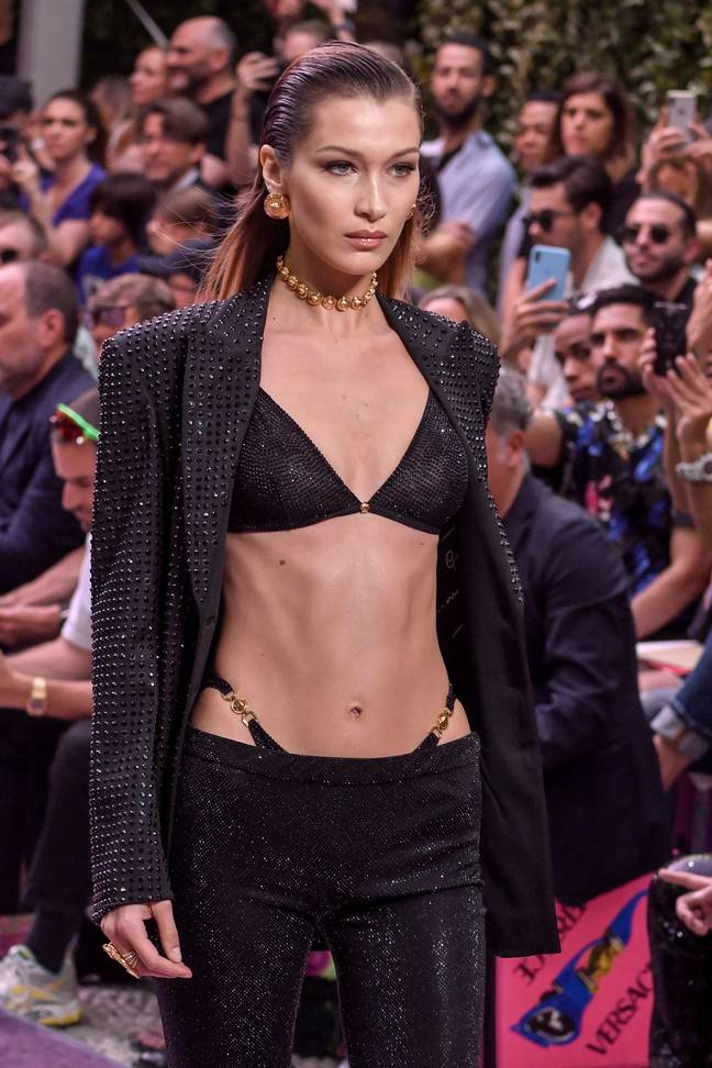 Bella Hadid seemingly led the trend's unlikely revival when she walked the Versace runway in June 2019 (Credit: Shutterstock)