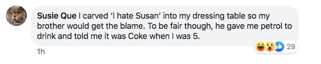 Susie Que got her brother in trouble with a classic bluff (Credit: Facebook)