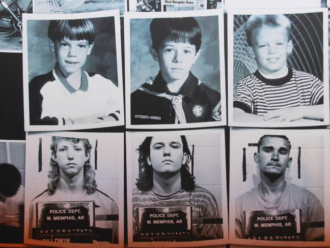 Jessie Misskelley, Jr., Jason Baldwin and Damien Echols (bottom) were convicted for the murders of Stevie Branch, Michael Moore and Christopher Byers (top). Credit: Supplied
