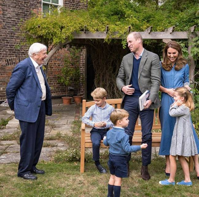 Sir David Attenborough meets the young royals (Credit: Kensington Royal)