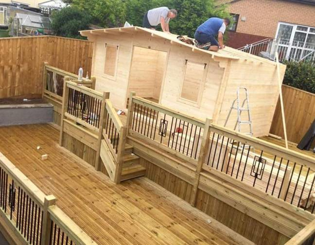 The back garden boozer took five months to build and cost just over £4,000 (Credit: Caters)