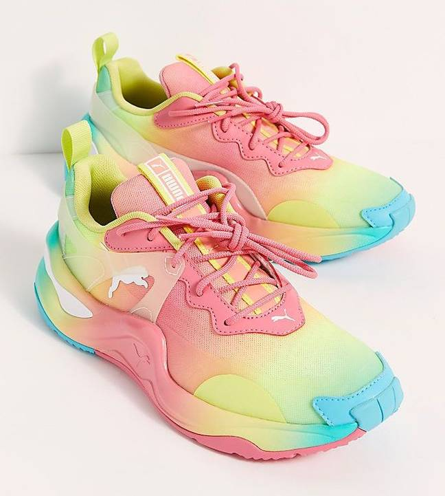The trainers have a cloud-inspired design, featuring a lace up front, springy cushioned insole and almond shaped toe (Credit: Puma / Free People)