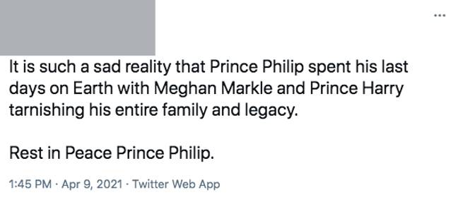 Another troll said the interview, and not the numerous health problems, contributed to Philip's death (Credit: Twitter)