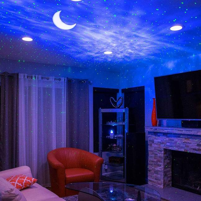 The LED Night Light projector features three different lighting effects including a romantic starry sky. (Credit: Amazon)