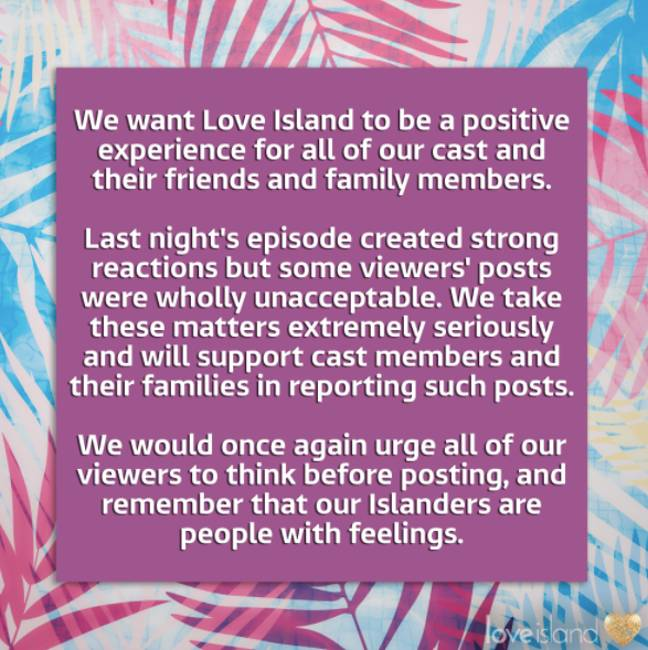 ITV posted a stern warning to viewers (Credit: Twitter - Love Island)