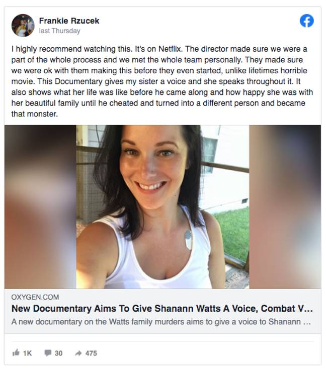 Shanann's brother took to Facebook to praise 'American Murder' (Credit: Facebook)