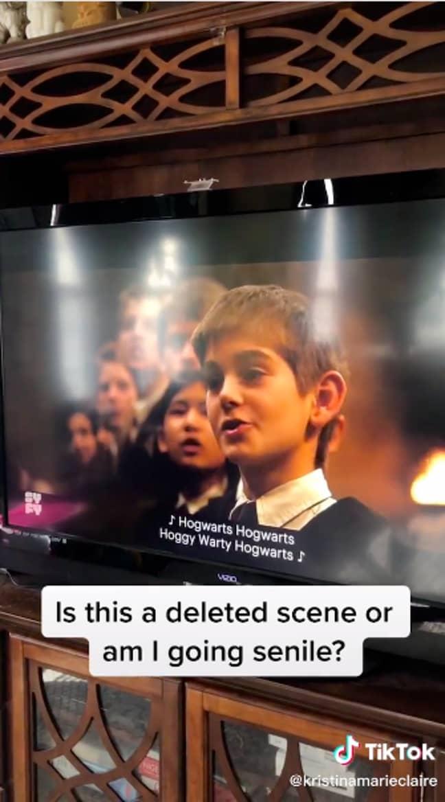 The students sang school anthem 'Hoggy Warty Hogwarts' (Credit: TikTok)
