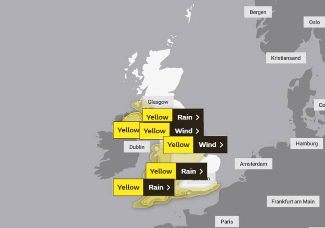 Yellow weather warnings are in place (Credit: Met Office)