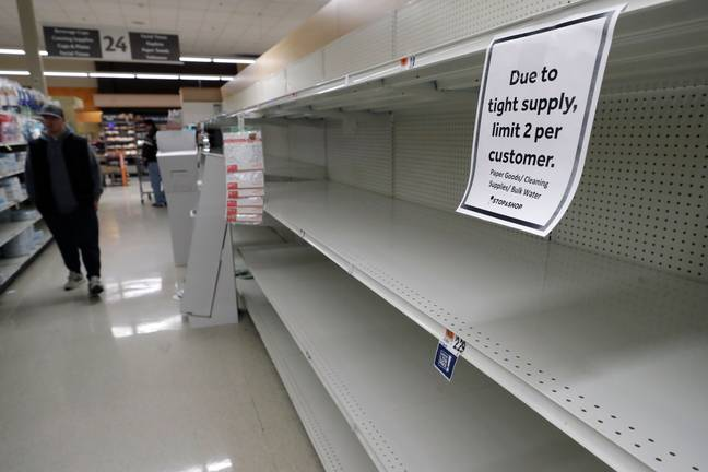 Shelves were swept clean by panic buyers (Credit: PA)