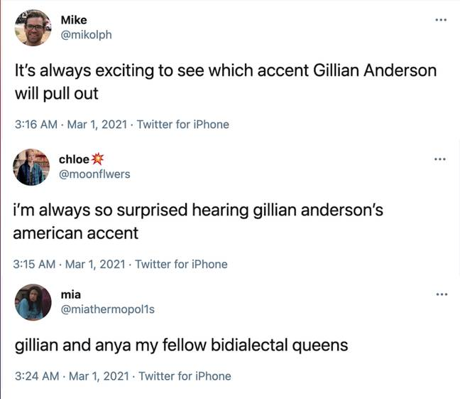 Viewers took to Twitter after hearing Gillian's bidialectal accent during her acceptance speech (Credit: NBC)