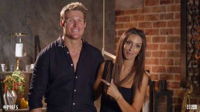 Lizzie was this time paired with footballer Seb (Credit: Channel Nine)