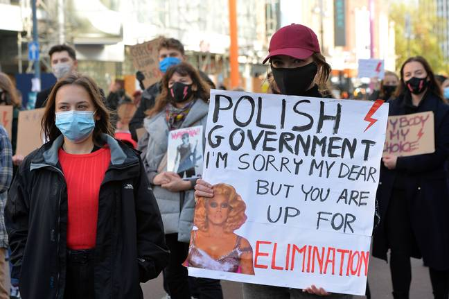 Protestors on the streets of Warsaw (Credit: PA)