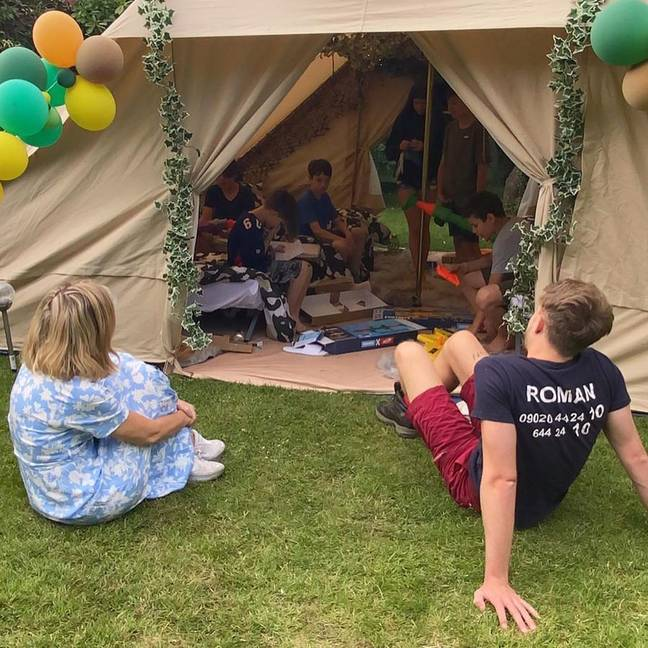 Kate rigged up a tepee in the garden along with balloon arches and paddling pools (Credit: Roman Kemp / Instagram)