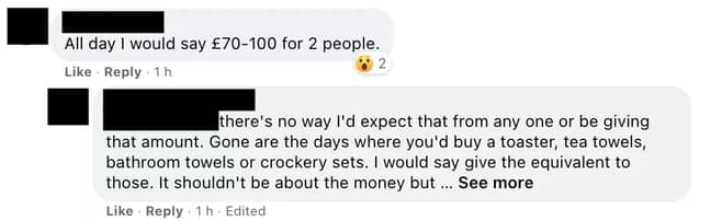Users had mixed feelings on how much should be given (Credit: Facebook)