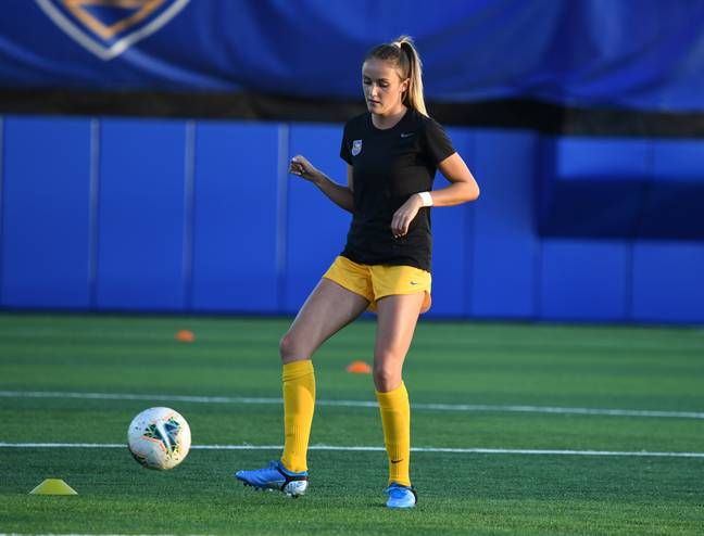 Hollie was forced to bow out of football for nine months (Credit: Mercury Press)