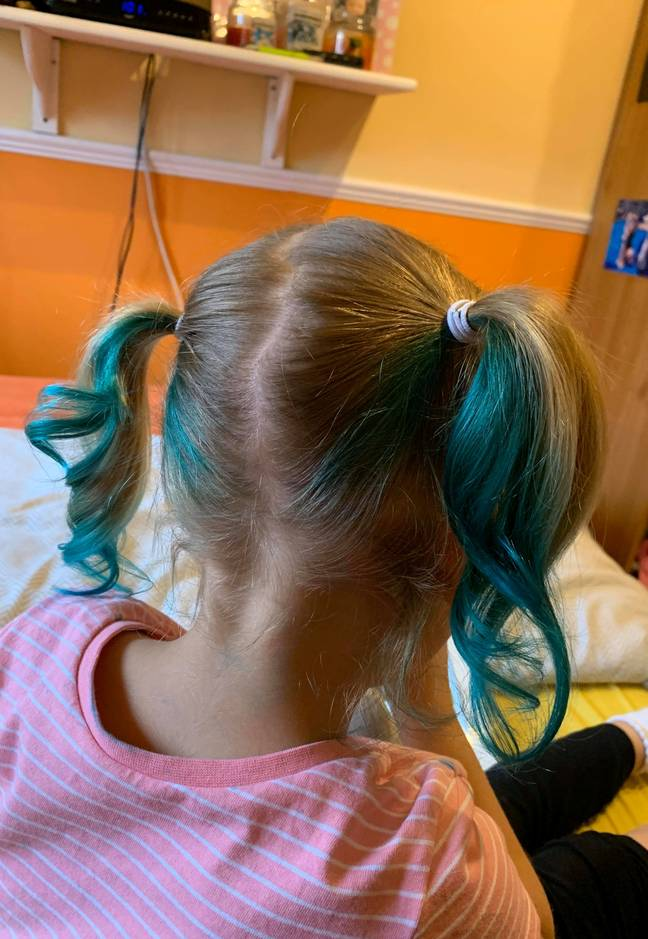 Evie went for a mermaid blue (Credit: SWNS)