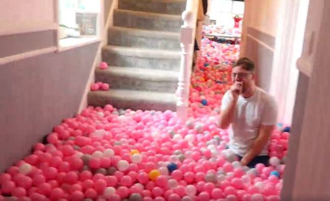 The ball pit was three feet deep in some places! (Credit: SWNS)