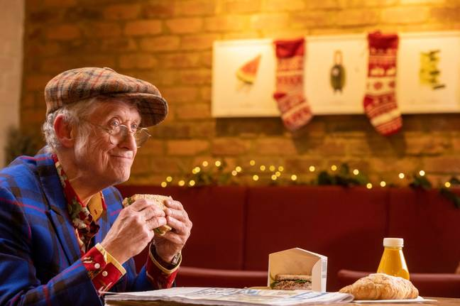 Yep, that's Noddy Holder eating a Christmas sandwich (Credit: Pret)