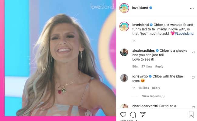 Chloe Burrows Love Island (Credit: Instagram/loveisland)