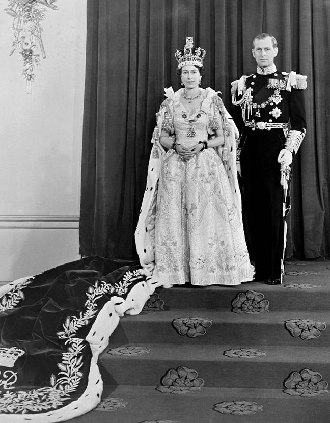 The Queen and Prince Philip at Buckingham Palace after her coronation in 1953 (Credit: PA)
