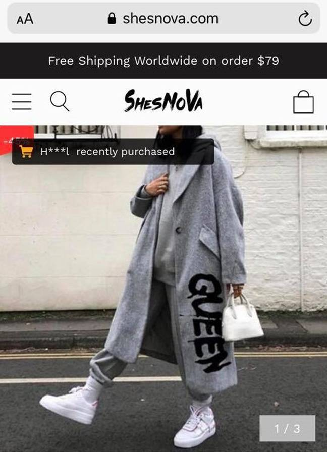 Chellce was expecting a grey coat with the word 'Queen' (Credit: Caters News)