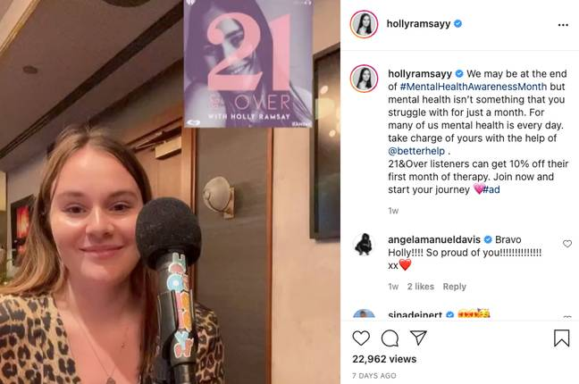 Holly Ramsay's podcast '21 and Over with Holly Ramsay' (Credit: Instagram/hollyramsayy)
