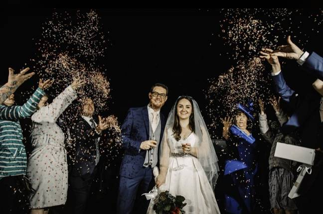 Friends also gathered outside of the church with confetti (Credit: Robert Stanley / David Dean Photographic