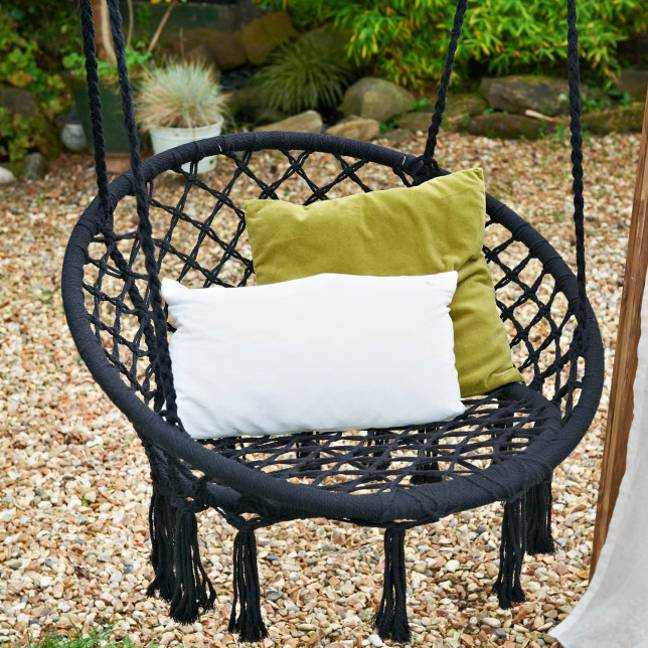 The swing chair is the perfect stylish garden accessory (Credit: B&M)