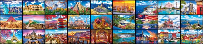 The 51,300 pieces depicts the 27 Wonders of the World (Credit: Kodak)