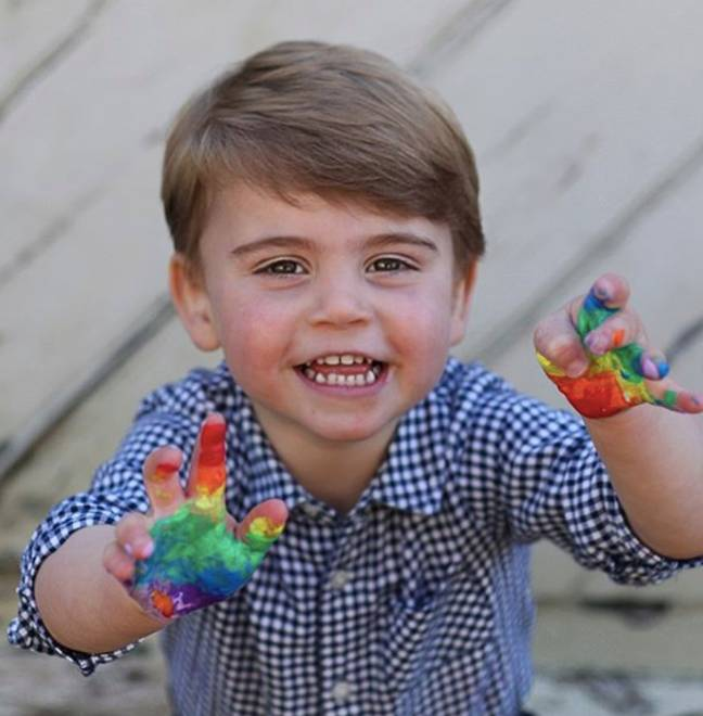 Prince Louis posed with paint on his hands (Credit: Instagram/ Kensington Royal)