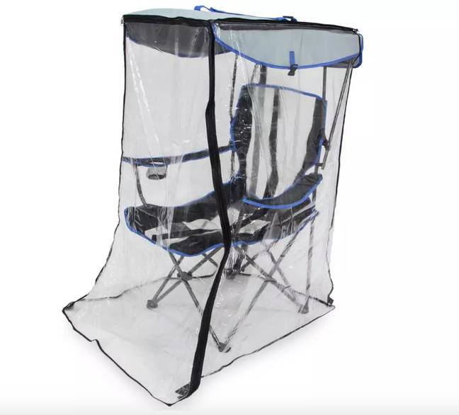 The canopy chair features a plastic shield that you can simply zip up when it rains (Credit: Argos)