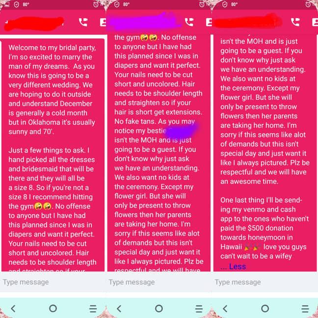 The texts were shared on Reddit (Credit: Reddit/ junebugg85)