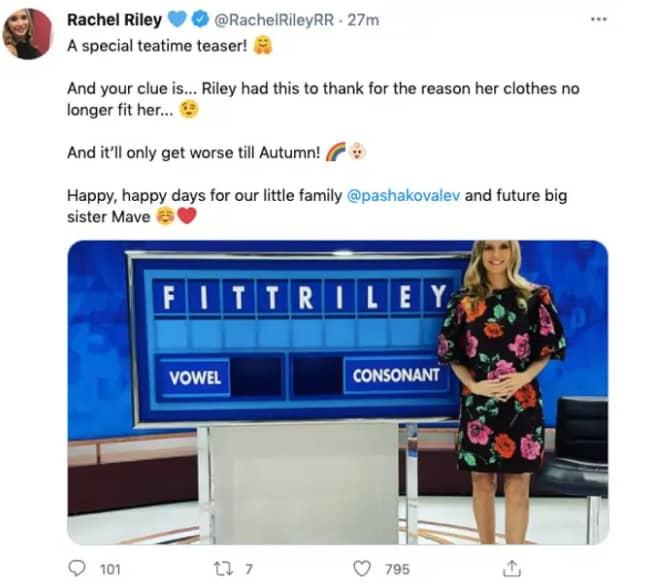 Rachel Riley's pregnancy announcement (Credit: Twitter/Rachel Riley)
