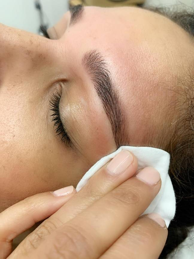To remove the tint, simply wet a cotton pad and wipe in an outward motion (Credit: Brows By Suman)