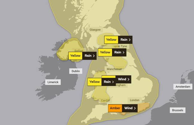 Amber warnings have been issued in the South east of England (Credit: Met Office)