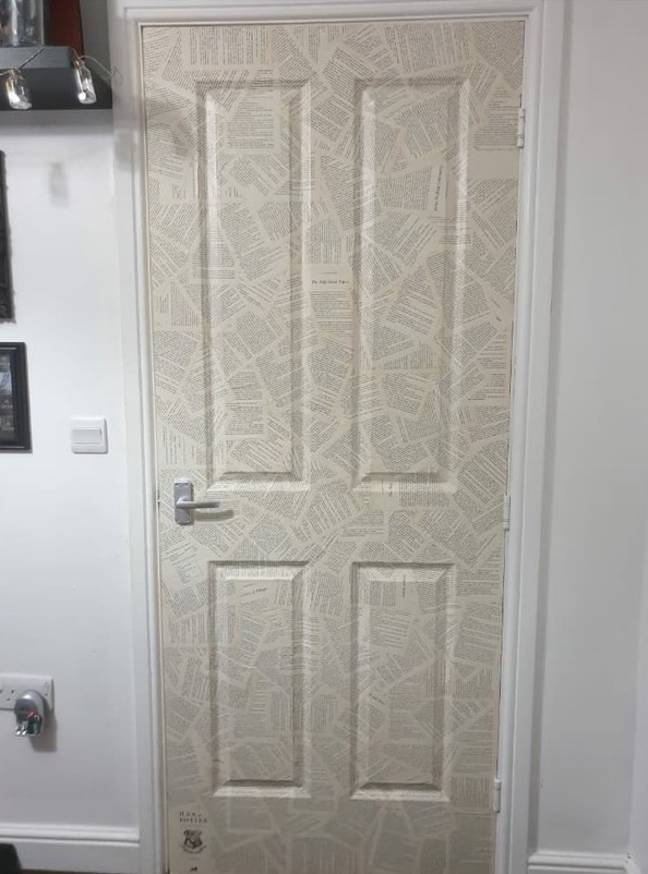 Kylie coated her bedroom door in Harry Potter pages to give it a lift (Credit: Latest Deals/Kylie Lyons)