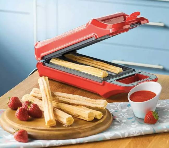 The device has a sleek red exterior and non-stick surfaces (Credit: Ambiano)