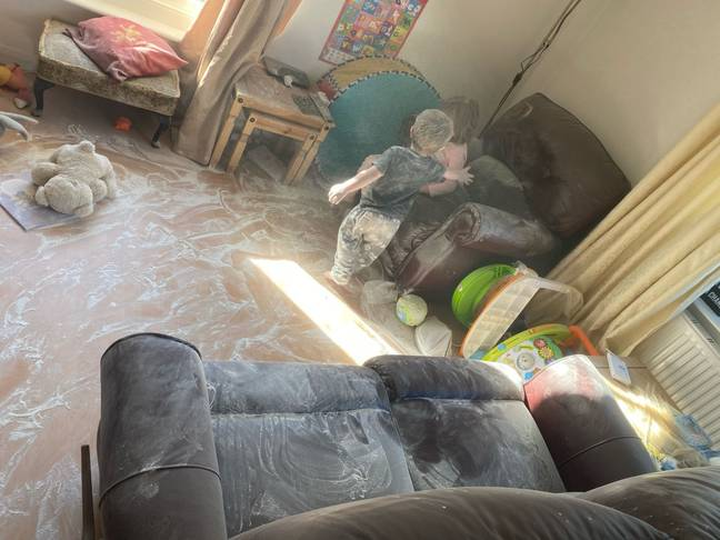 The talc almost ruined the brand new sofas (Credit: Kennedy News Media)