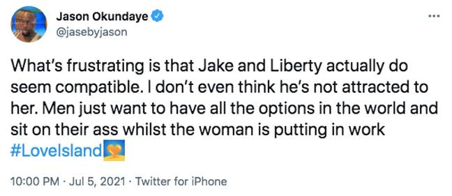 One man explained why he thought Jake wasn't cosying up to Liberty (Credit: ITV)