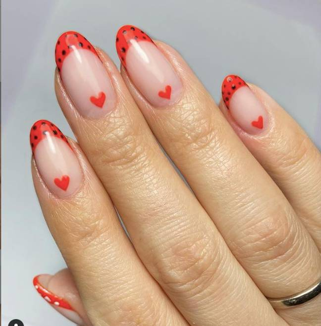 If the swirls are a bit too much for you, why not try simple red tips? (Credit: Instagram: beautiful_souls_beauty)