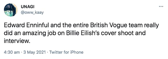 Fans celebrated Billie Eilish for reclaiming agency over her look (Credit: Twitter)