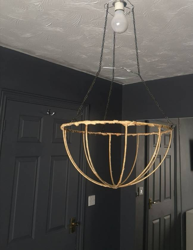 She began by creating a wire frame for her light fitting (Credit: Kennedy)