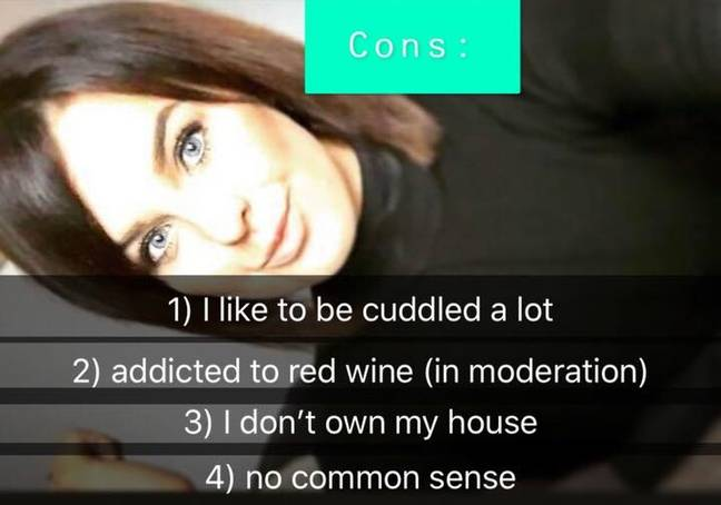 The 23-year-old was brutally honest in her Tinder presentation. Credit: Kennedy News