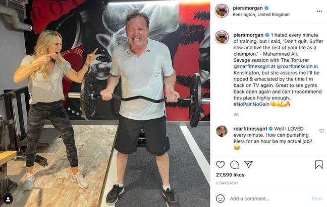 Could Piers be getting himself in shape for the bushtucker trials? (Credit: Instagram/piersmorgan)