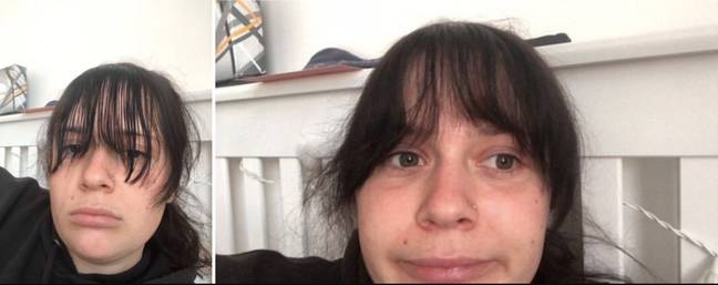 Lara, 22, decided to cut her own fringe, but it didn't go quite to plan (Credit: SWNS)