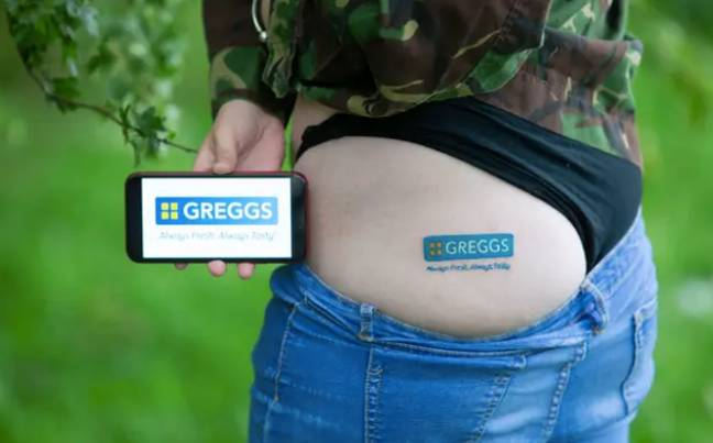 This is the sign of a true Greggs fan (Credit: Caters)