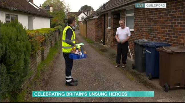 When Darren dropped off a care package to one of his regulars he got a rather abrupt response (Credit: ITV / This Morning)